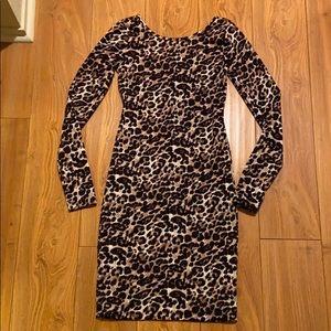 Long sleeve leopard dress